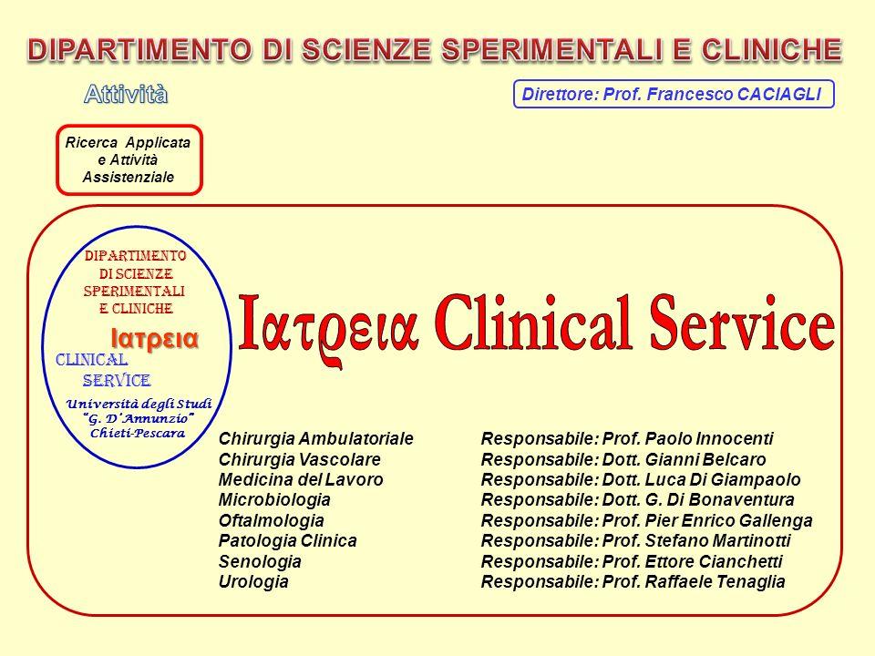 Chirurgia AmbulatorialeResponsabile: Prof. Paolo Innocenti Chirurgia VascolareResponsabile: Dott. Gianni Belcaro Medicina del LavoroResponsabile: Dott