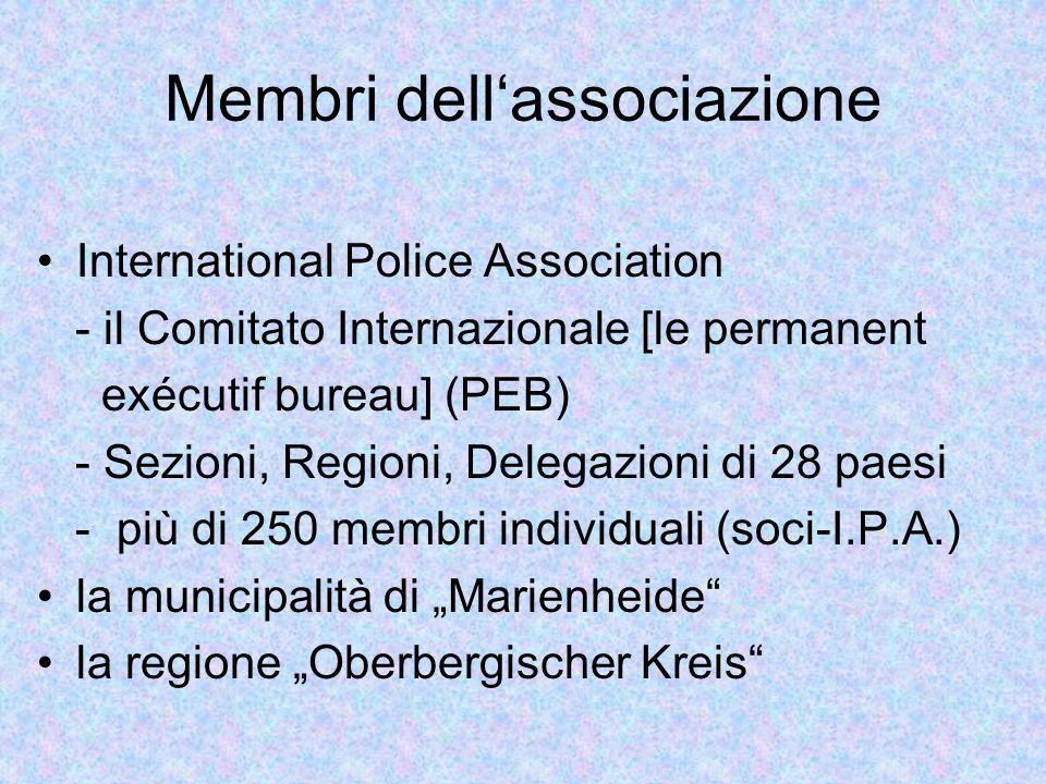 Membri dellassociazione International Police Association - il Comitato Internazionale [le permanent exécutif bureau] (PEB) - Sezioni, Regioni, Delegazioni di 28 paesi - più di 250 membri individuali (soci-I.P.A.) la municipalità di Marienheide la regione Oberbergischer Kreis