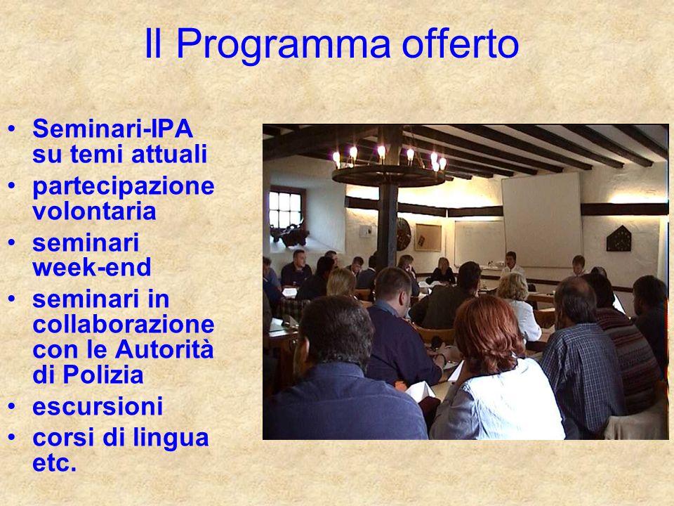 Seminari-IPA su temi attuali partecipazione volontaria seminari week-end seminari in collaborazione con le Autorità di Polizia escursioni corsi di lingua etc.