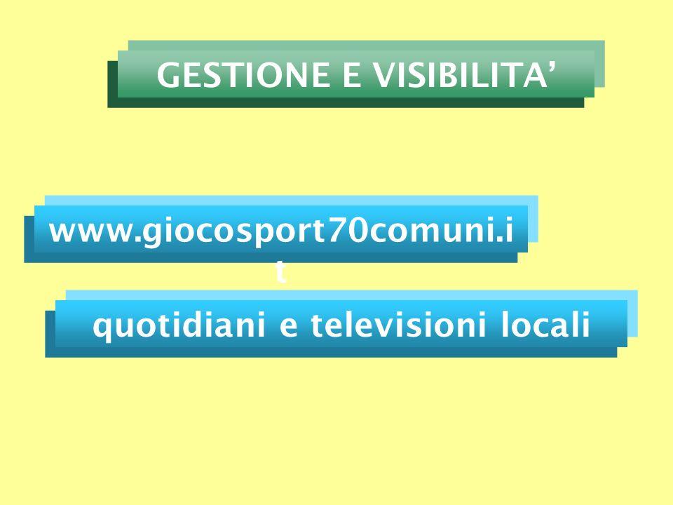 www.giocosport70comuni.i t GESTIONE E VISIBILITA quotidiani e televisioni locali