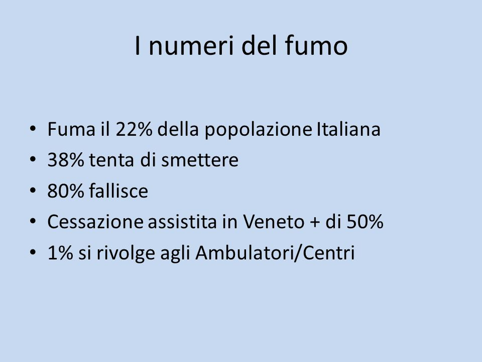 I numeri del fumo Fuma il 22% della popolazione Italiana 38% tenta di smettere 80% fallisce Cessazione assistita in Veneto + di 50% 1% si rivolge agli Ambulatori/Centri