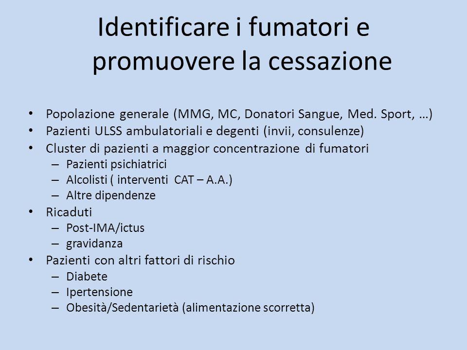 Identificare i fumatori e promuovere la cessazione Popolazione generale (MMG, MC, Donatori Sangue, Med. Sport, …) Pazienti ULSS ambulatoriali e degent