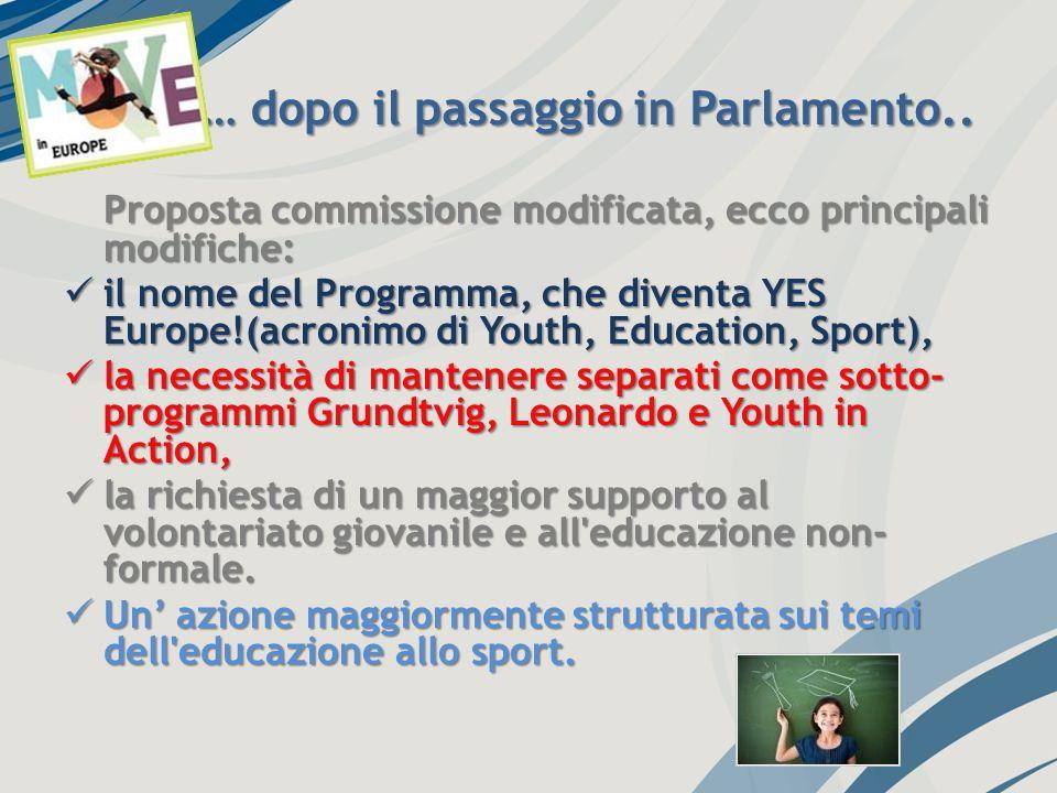 .. … dopo il passaggio in Parlamento.. Proposta commissione modificata, ecco principali modifiche: il nome del Programma, che diventa YES Europe!(acro