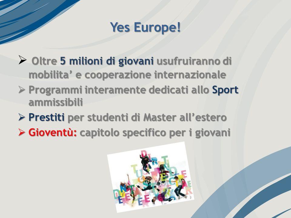 Yes Europe! Oltre 5 milioni di giovani usufruiranno di mobilita e cooperazione internazionale Programmi interamente dedicati allo Sport ammissibili Pr