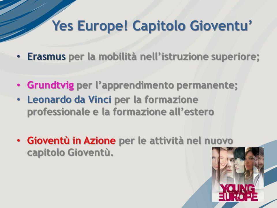 Yes Europe! Capitolo Gioventu Erasmus per la mobilità nellistruzione superiore; Erasmus per la mobilità nellistruzione superiore; Grundtvig per lappre