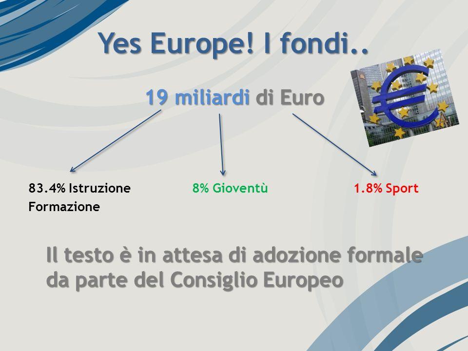 Yes Europe! I fondi.. 19 miliardi di Euro 83.4% Istruzione 8% Gioventù 1.8% Sport Formazione Il testo è in attesa di adozione formale da parte del Con