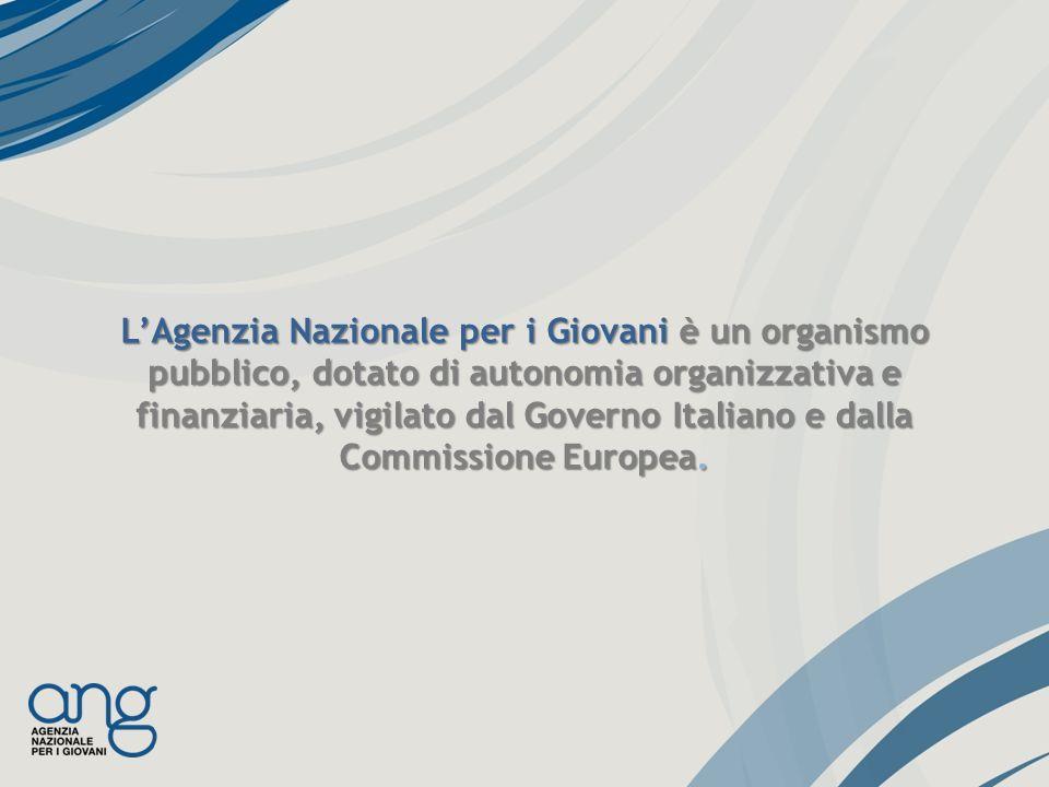 LAgenzia Nazionale per i Giovani è un organismo pubblico, dotato di autonomia organizzativa e finanziaria, vigilato dal Governo Italiano e dalla Commissione Europea.
