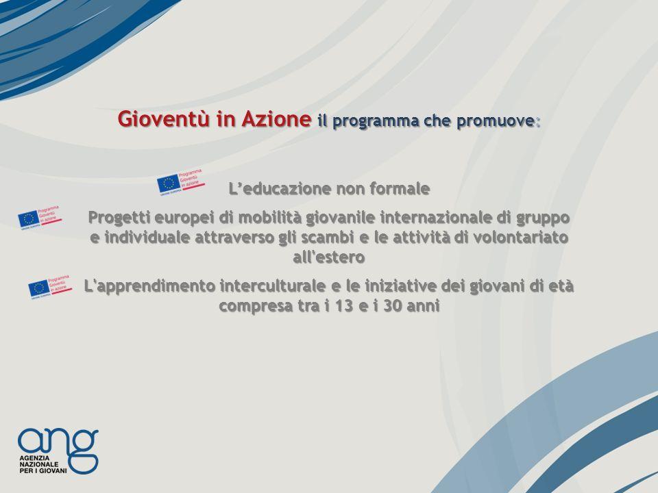 Gioventù in Azione il programma che promuove: Leducazione non formale Progetti europei di mobilità giovanile internazionale di gruppo e individuale at
