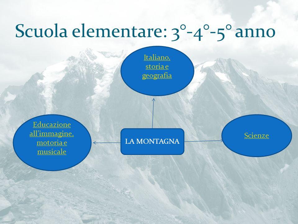 Scuola elementare: 3°-4°-5° anno LA MONTAGNA Italiano, storia e geografia Educazione allimmagine, motoria e musicale Scienze