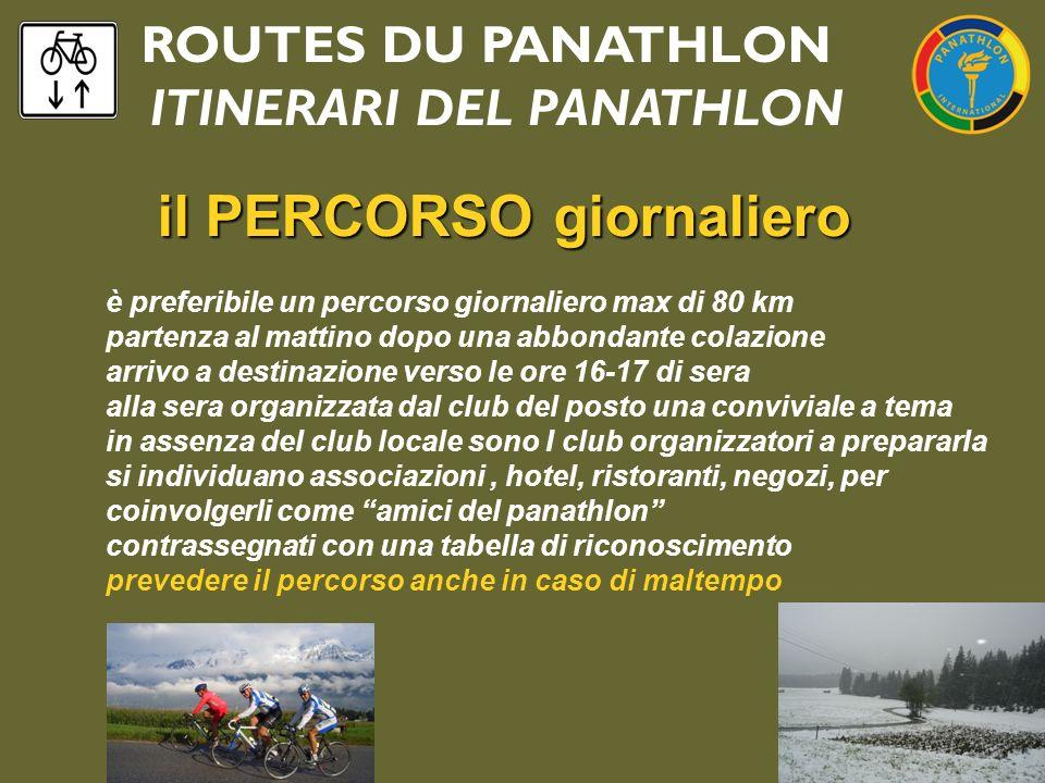 ROUTES DU PANATHLON ITINERARI DEL PANATHLON il PERCORSO giornaliero il PERCORSO giornaliero è preferibile un percorso giornaliero max di 80 km partenz