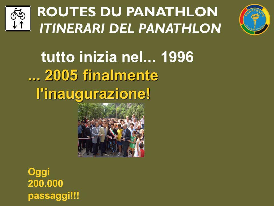 ROUTES DU PANATHLON ITINERARI DEL PANATHLON tutto inizia nel... 1996... 2005 finalmente l'inaugurazione! Oggi 200.000 passaggi!!!
