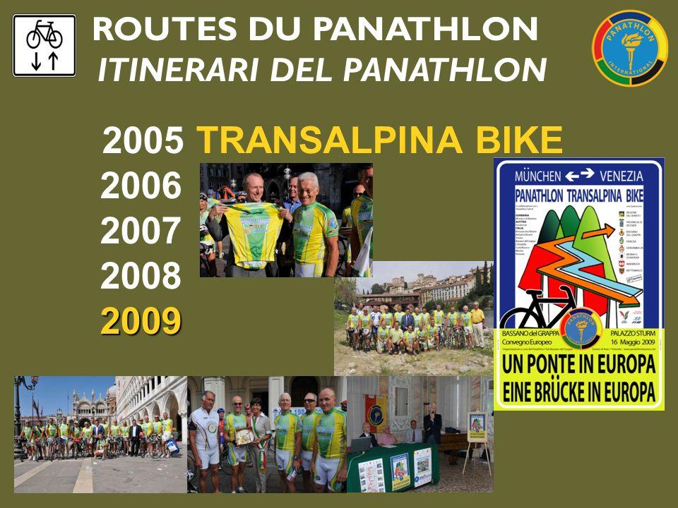 ROUTES DU PANATHLON ITINERARI DEL PANATHLON 2005 TRANSALPINA BIKE 2006 2007 2008 2009