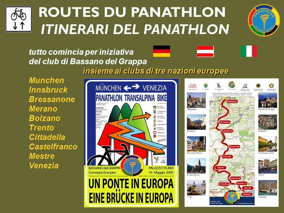 ROUTES DU PANATHLON ITINERARI DEL PANATHLON tutto comincia per iniziativa del club di Bassano del Grappa insieme ai clubs di tre nazioni europee Munch