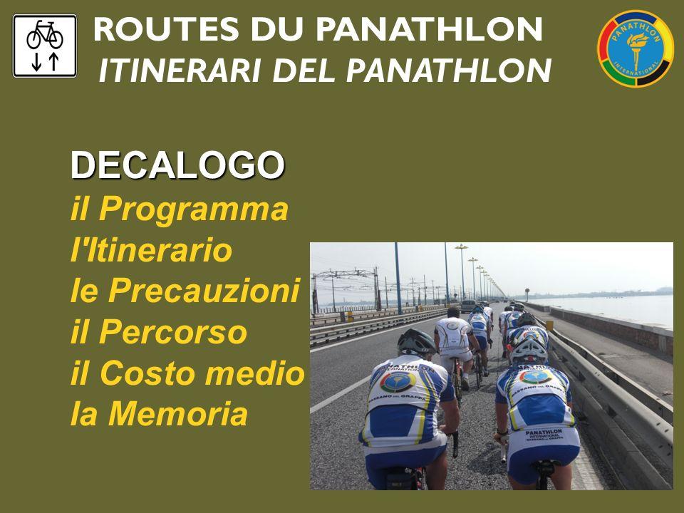 ROUTES DU PANATHLON ITINERARI DEL PANATHLON DECALOGO il Programma l'Itinerario le Precauzioni il Percorso il Costo medio la Memoria