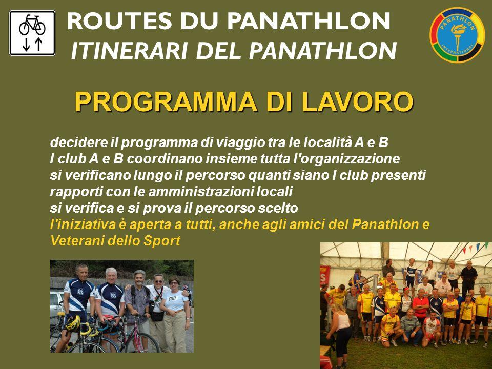 ROUTES DU PANATHLON ITINERARI DEL PANATHLON PROGRAMMA DI LAVORO decidere il programma di viaggio tra le località A e B I club A e B coordinano insieme