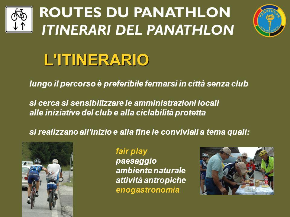 ROUTES DU PANATHLON ITINERARI DEL PANATHLON L'ITINERARIO lungo il percorso è preferibile fermarsi in città senza club si cerca si sensibilizzare le am
