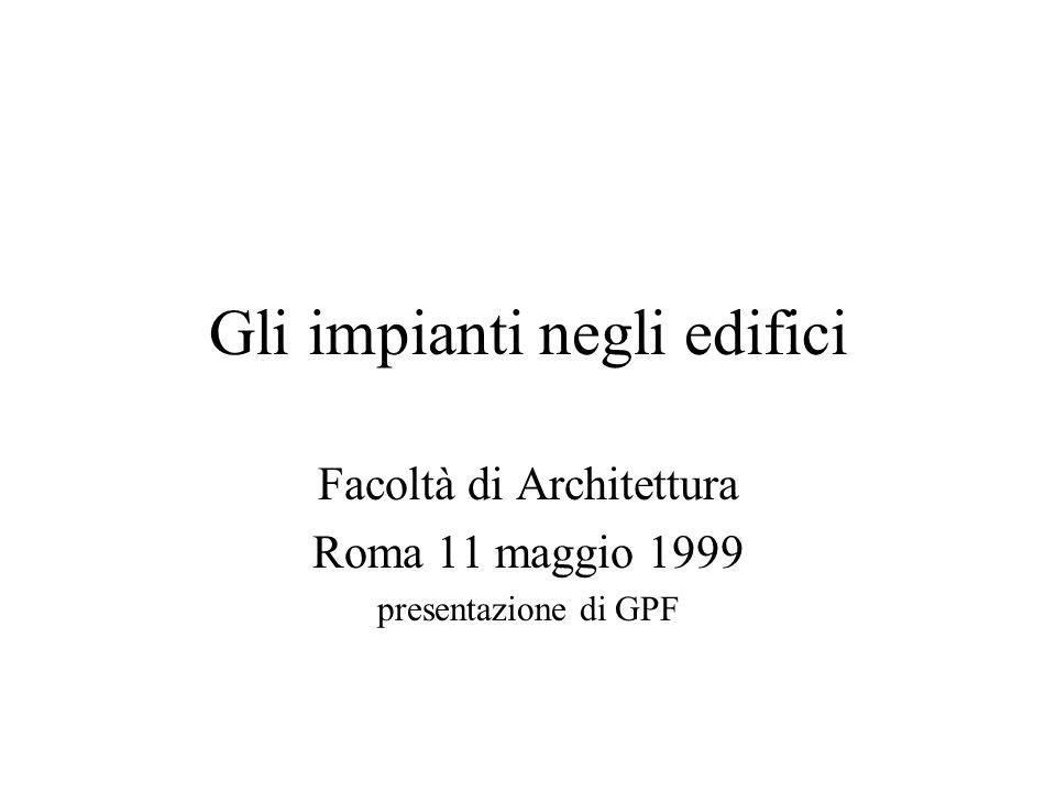 Gli impianti negli edifici Facoltà di Architettura Roma 11 maggio 1999 presentazione di GPF