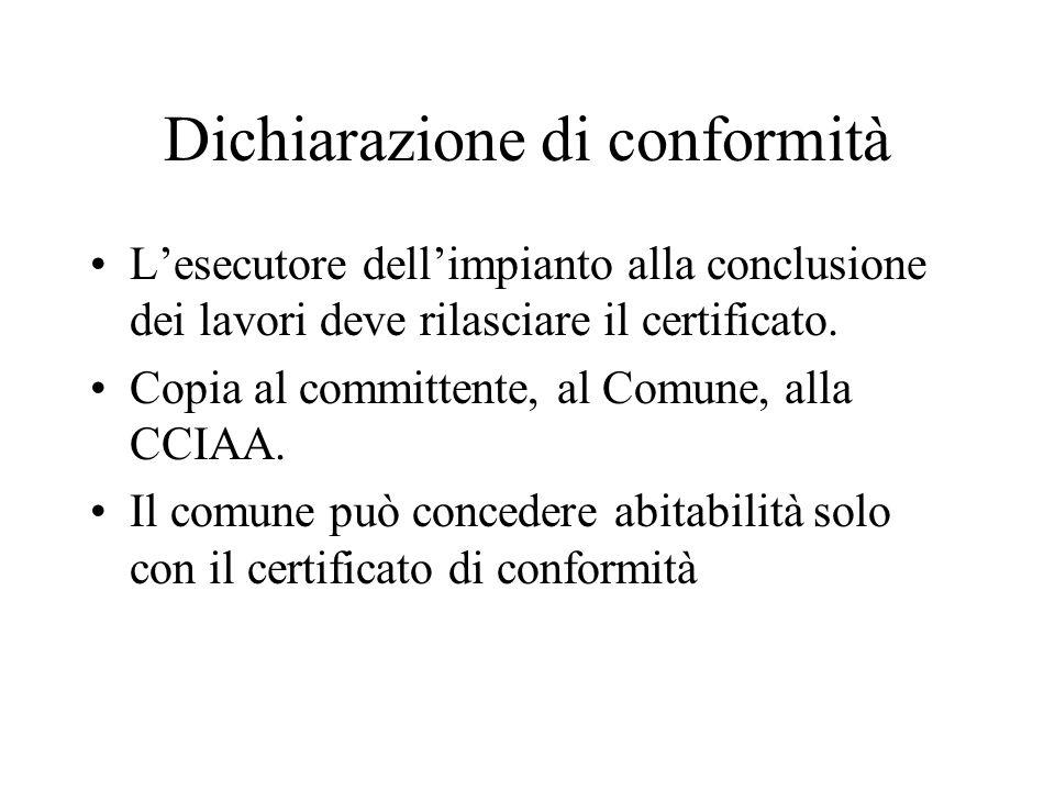 Dichiarazione di conformità Lesecutore dellimpianto alla conclusione dei lavori deve rilasciare il certificato. Copia al committente, al Comune, alla