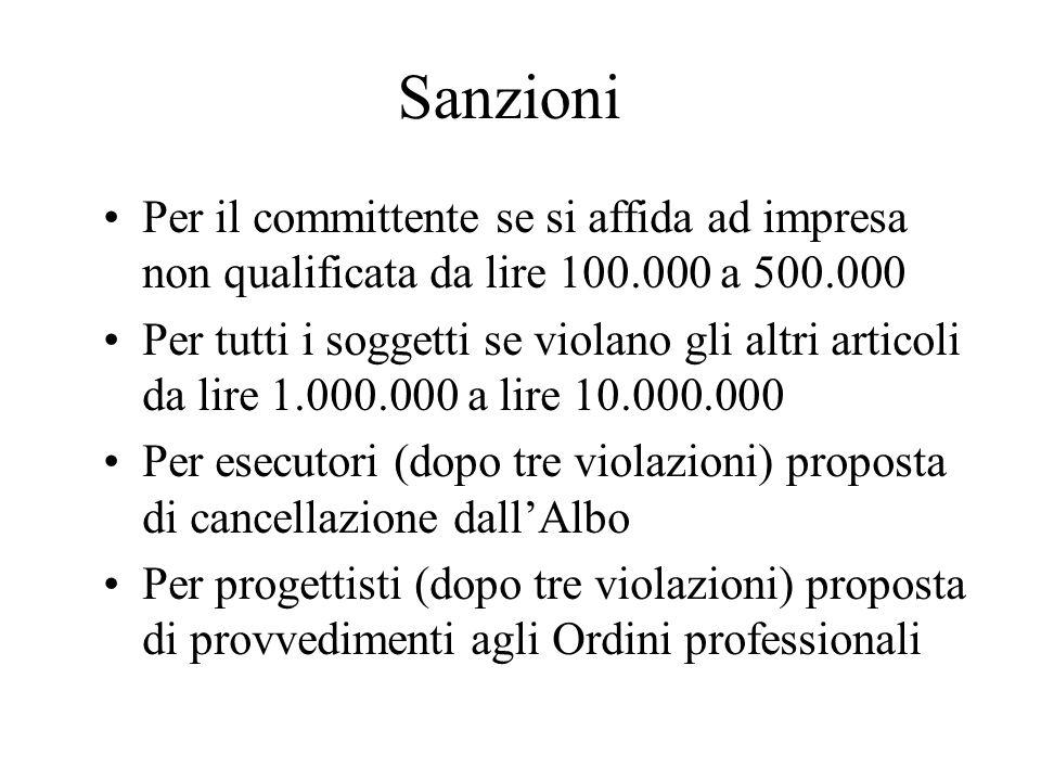 Sanzioni Per il committente se si affida ad impresa non qualificata da lire 100.000 a 500.000 Per tutti i soggetti se violano gli altri articoli da li