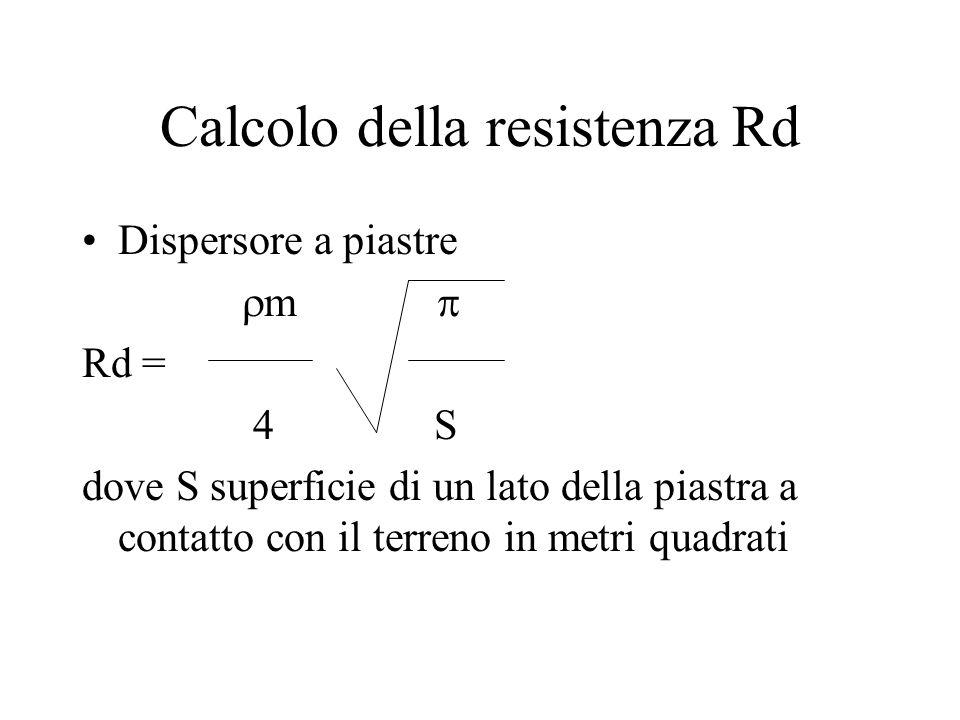 Calcolo della resistenza Rd Dispersore a piastre m Rd = 4 S dove S superficie di un lato della piastra a contatto con il terreno in metri quadrati