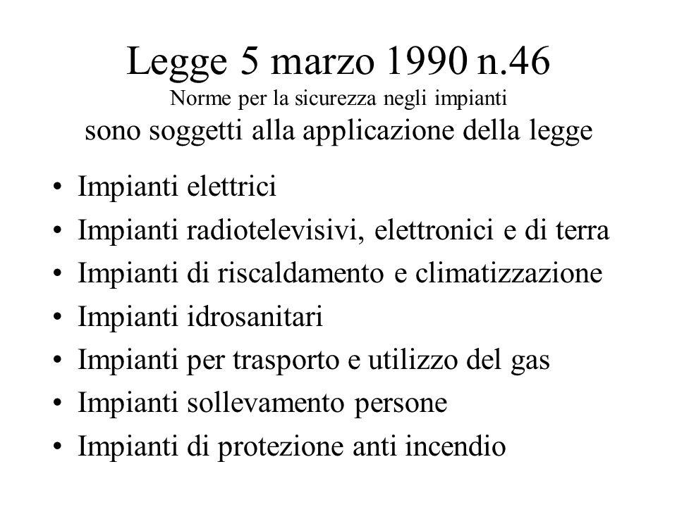 Legge 5 marzo 1990 n.46 Norme per la sicurezza negli impianti sono soggetti alla applicazione della legge Impianti elettrici Impianti radiotelevisivi,