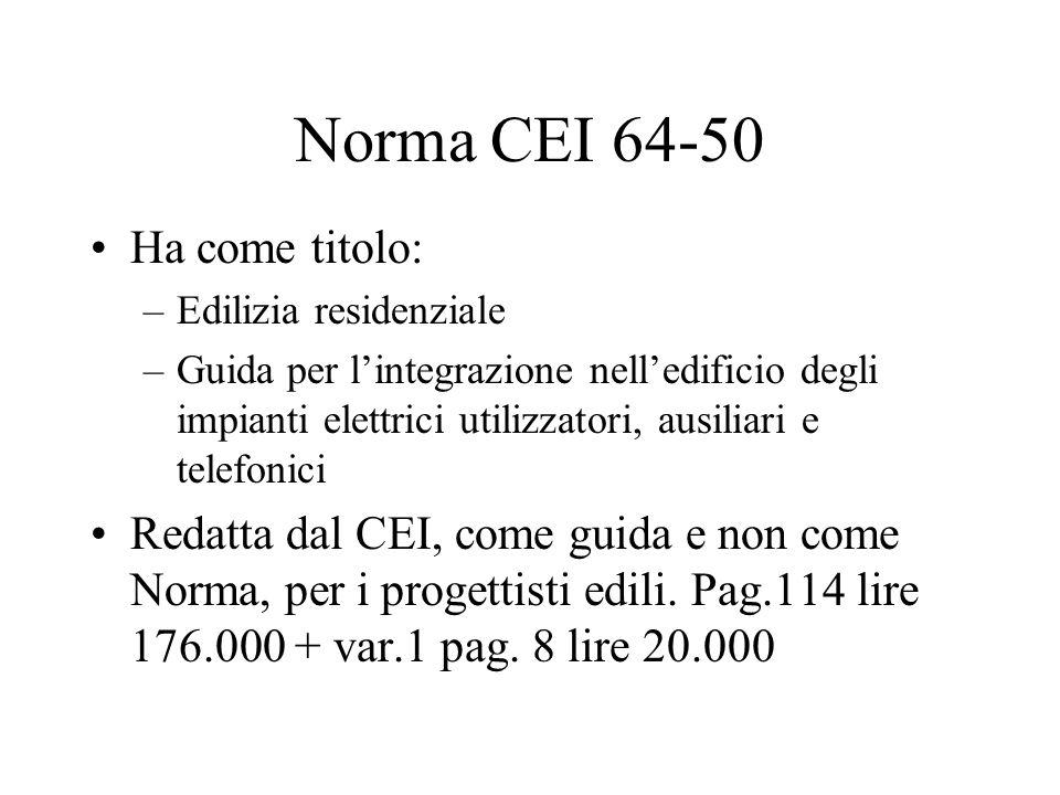 Norma CEI 64-50 Ha come titolo: –Edilizia residenziale –Guida per lintegrazione nelledificio degli impianti elettrici utilizzatori, ausiliari e telefo