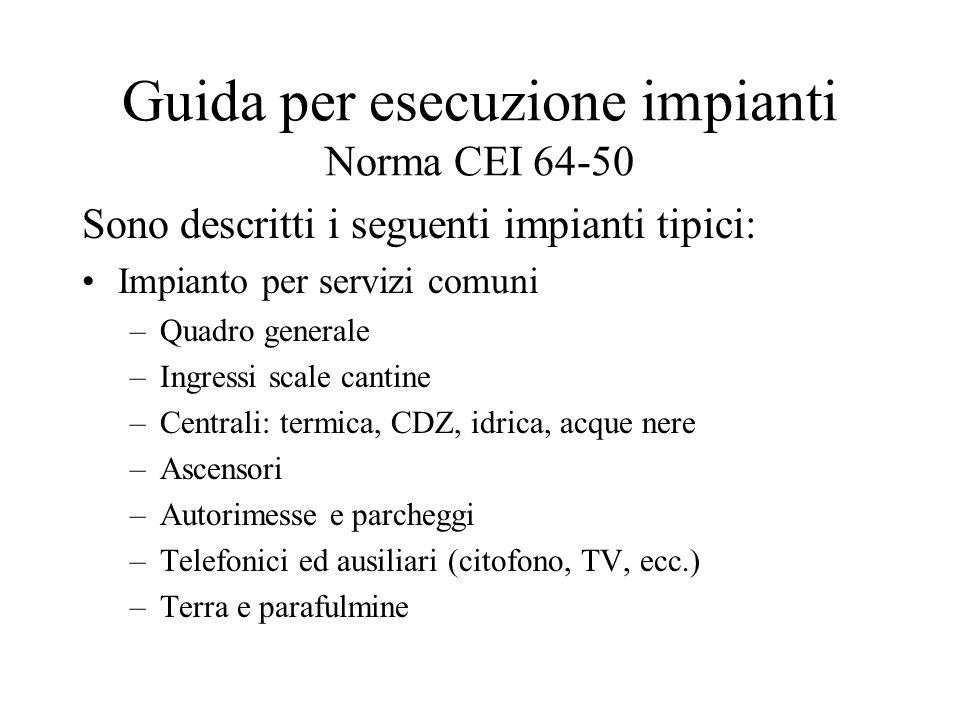 Guida per esecuzione impianti Norma CEI 64-50 Sono descritti i seguenti impianti tipici: Impianto per servizi comuni –Quadro generale –Ingressi scale