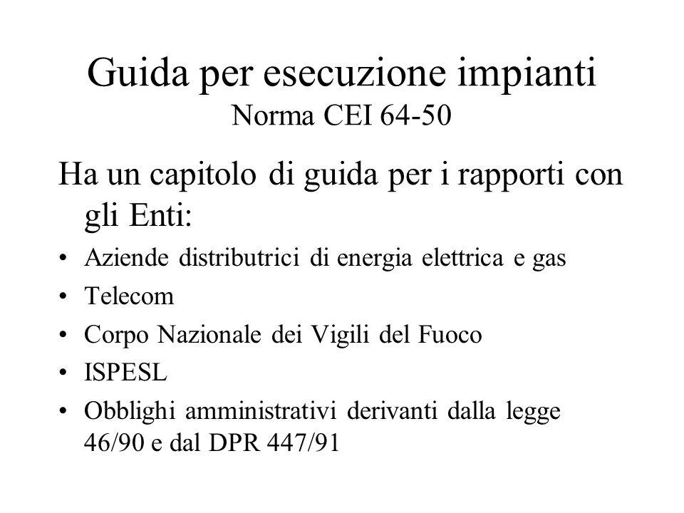 Guida per esecuzione impianti Norma CEI 64-50 Ha un capitolo di guida per i rapporti con gli Enti: Aziende distributrici di energia elettrica e gas Te
