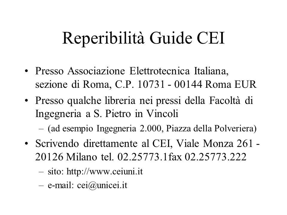 Reperibilità Guide CEI Presso Associazione Elettrotecnica Italiana, sezione di Roma, C.P. 10731 - 00144 Roma EUR Presso qualche libreria nei pressi de