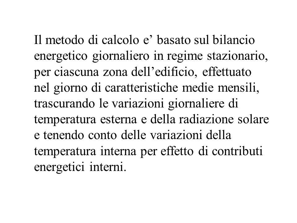 Il metodo di calcolo e basato sul bilancio energetico giornaliero in regime stazionario, per ciascuna zona delledificio, effettuato nel giorno di cara