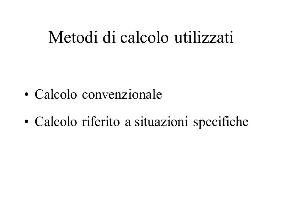 Metodi di calcolo utilizzati Calcolo convenzionale Calcolo riferito a situazioni specifiche