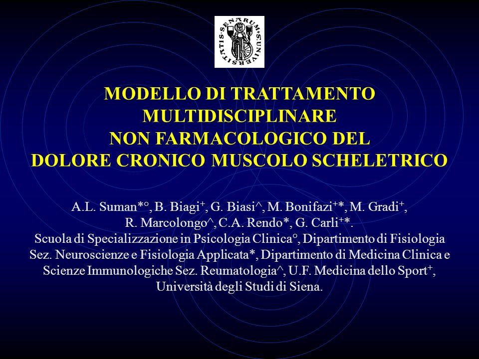 MODELLO DI TRATTAMENTO MULTIDISCIPLINARE NON FARMACOLOGICO DEL DOLORE CRONICO MUSCOLO SCHELETRICO A.L. Suman*°, B. Biagi +, G. Biasi^, M. Bonifazi + *