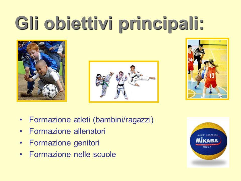 Gli obiettivi principali: Formazione atleti (bambini/ragazzi) Formazione allenatori Formazione genitori Formazione nelle scuole