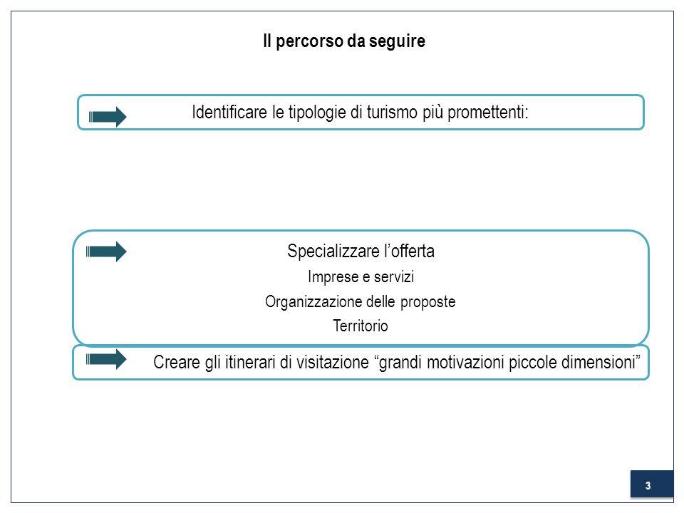 3 Il percorso da seguire Identificare le tipologie di turismo più promettenti: Specializzare lofferta Imprese e servizi Organizzazione delle proposte