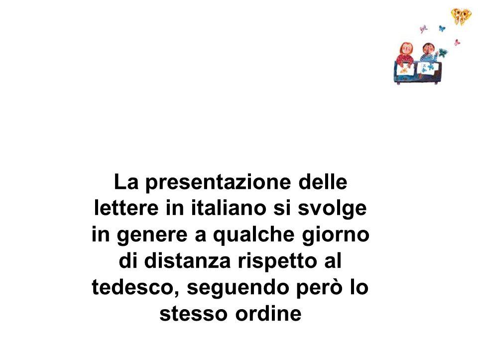 La presentazione delle lettere in italiano si svolge in genere a qualche giorno di distanza rispetto al tedesco, seguendo però lo stesso ordine
