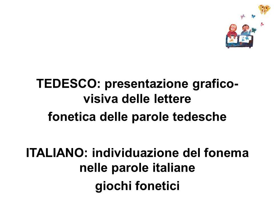TEDESCO: presentazione grafico- visiva delle lettere fonetica delle parole tedesche ITALIANO: individuazione del fonema nelle parole italiane giochi f