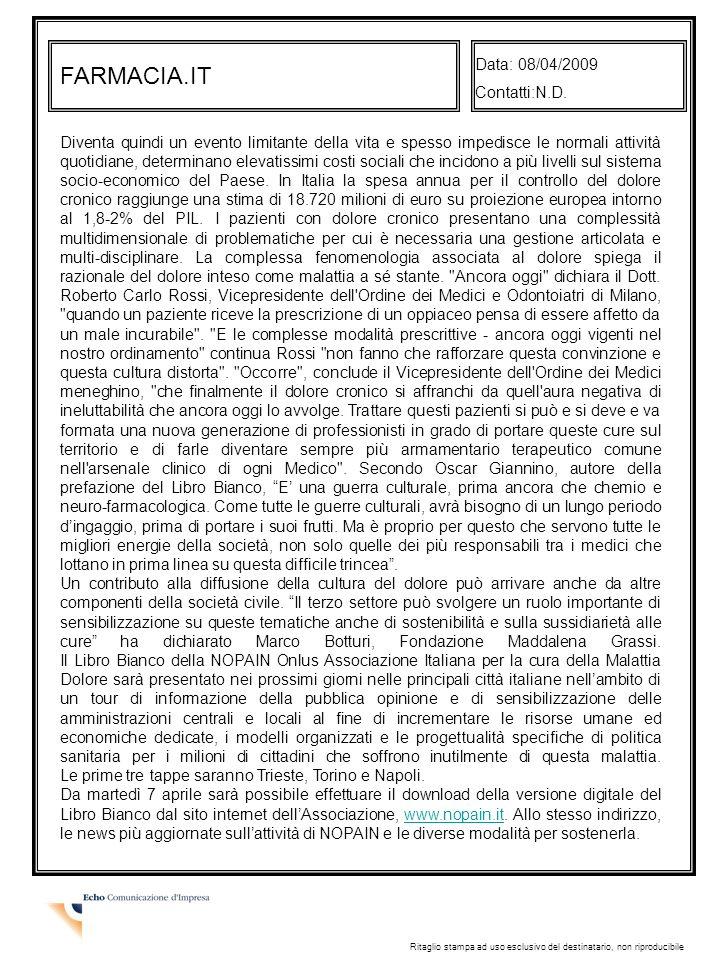 FARMACIA.IT Data: 08/04/2009 Contatti:N.D.