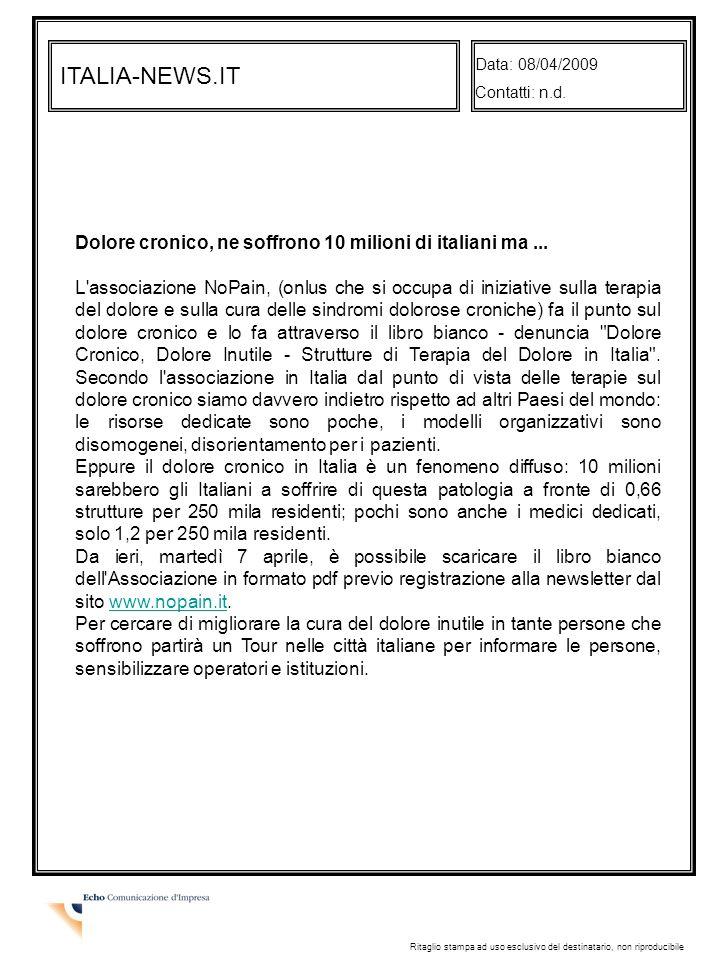 ITALIA-NEWS.IT Data: 08/04/2009 Contatti: n.d.