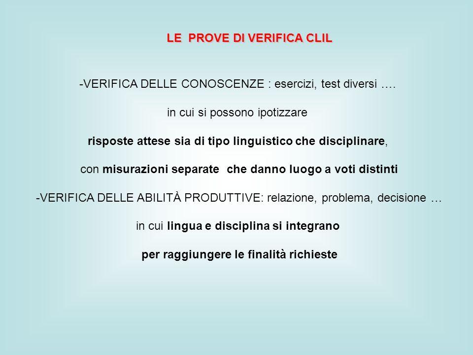 LE PROVE DI VERIFICA CLIL -VERIFICA DELLE CONOSCENZE : esercizi, test diversi ….