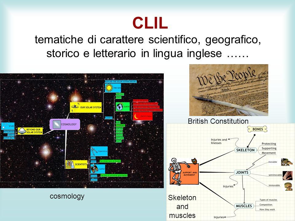 CLIL tematiche di carattere scientifico, geografico, storico e letterario in lingua inglese …… cosmology Skeleton and muscles British Constitution