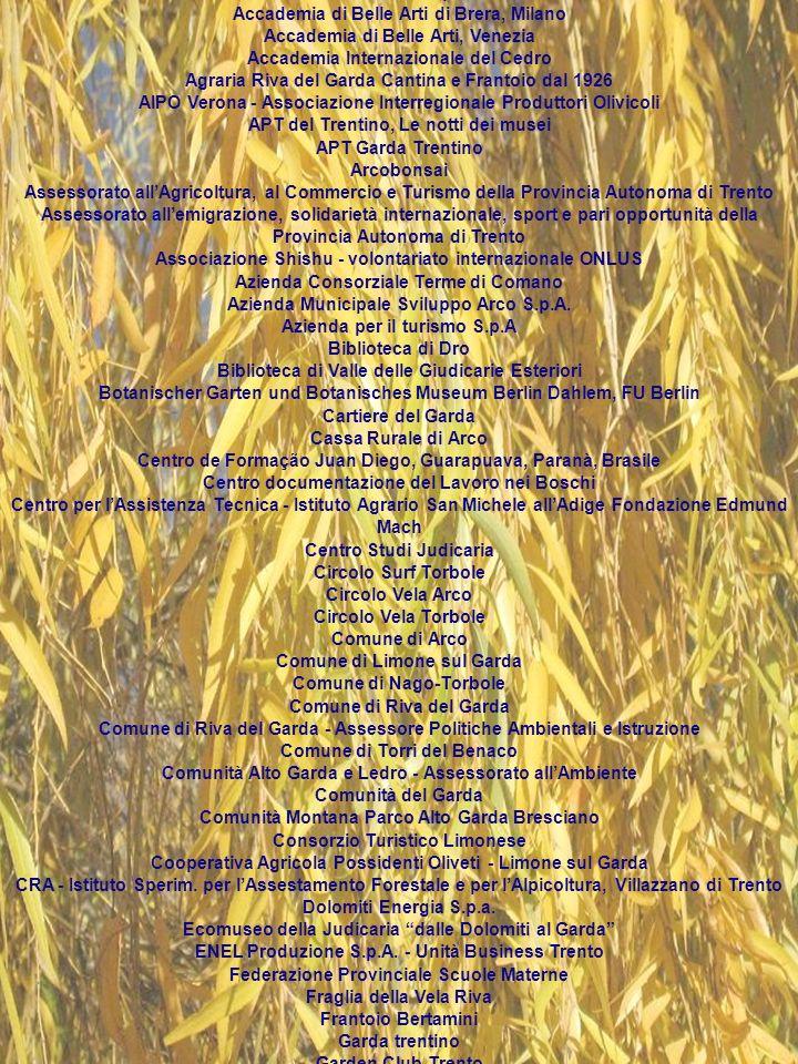 ENTI ORGANIZZATORI Acquario di Trento Agenzia Provinciale per lEnergia - Servizio Pianificazione Energetica ed Incentivi Agenzia Provinciale per la Protezione dellAmbiente - Settore Informazione e Qualità dellambiente Agenzia Provinciale per la Protezione dellAmbiente - Settore Laboratorio e Controlli Agenzia Provinciale per la Protezione dellAmbiente - Settore Informazione e Monitoraggi Biblioteca Civica di Riva del Garda Casa degli Artisti Giacomo Vittone, Canale di Tenno Centro Studi Judicaria Comune di Arco Comune di Arco - Assessorato alla Cultura Comune di Dro - Assessorato allIstruzione e Attività Formative Comune di Riva del Garda Comune di Riva del Garda - Assessorato alla Cultura - Assessorato al Turismo Comune di Tenno - Assessorato alla Cultura Dipartimento di Fisica, Università di Trento Museo Civico di Riva del Garda Museo Tridentino di Scienze Naturali Provincia Autonoma di Bolzano - Agenzia Provinciale per la Protezione dellAmbiente Provincia autonoma di Trento - Assessorato allIstruzione, Formazione profess.