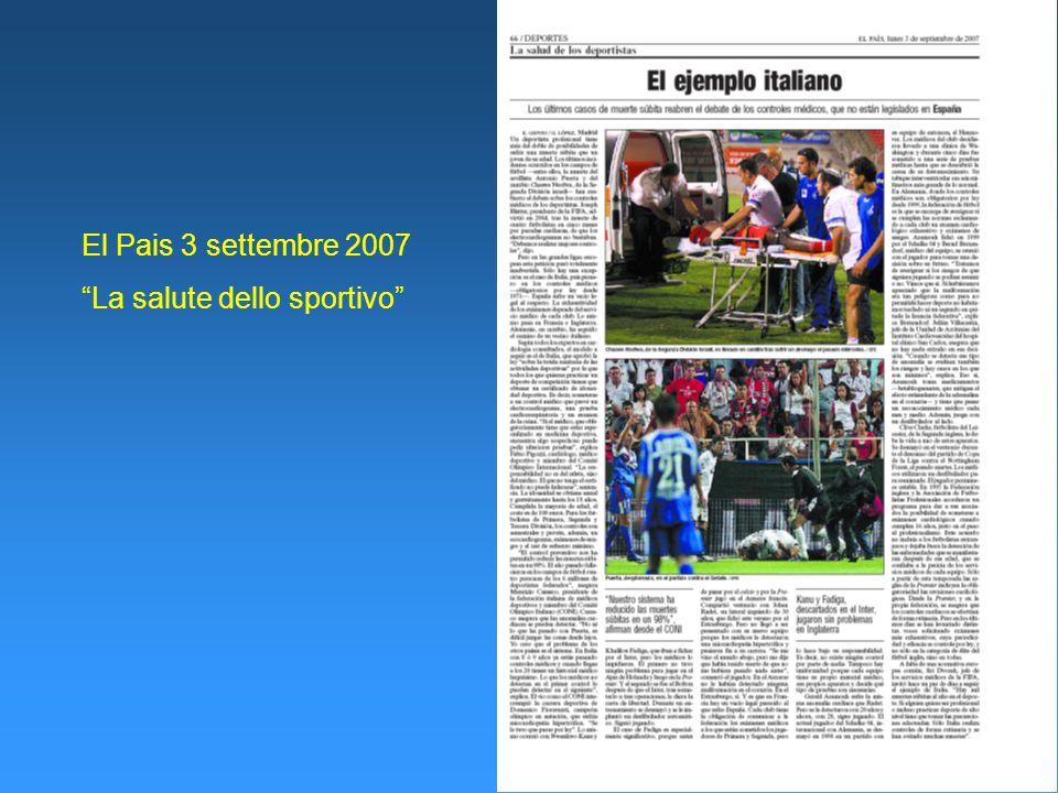 El Pais 3 settembre 2007 La salute dello sportivo