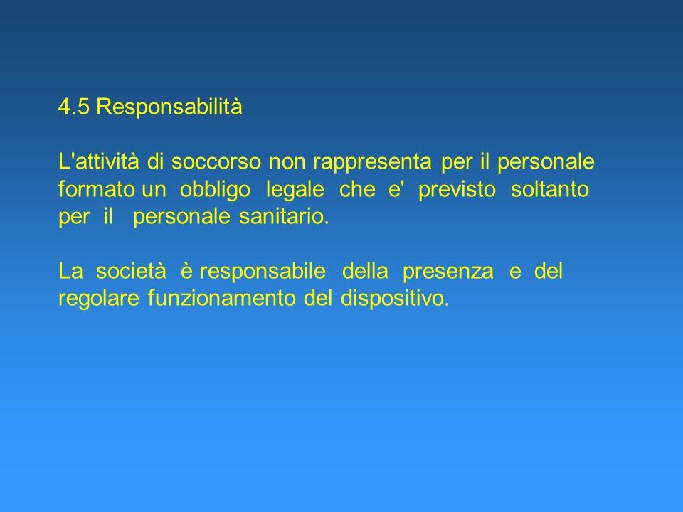 4.5 Responsabilità L'attività di soccorso non rappresenta per il personale formato un obbligo legale che e' previsto soltanto per il personale sanitar