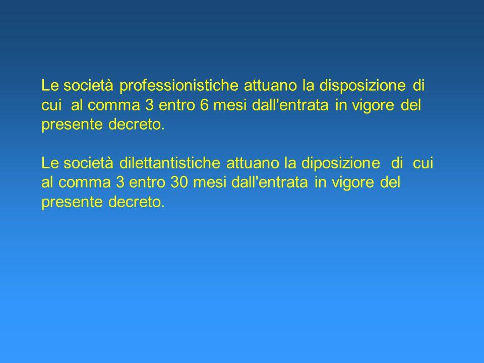 Le società professionistiche attuano la disposizione di cui al comma 3 entro 6 mesi dall'entrata in vigore del presente decreto. Le società dilettanti