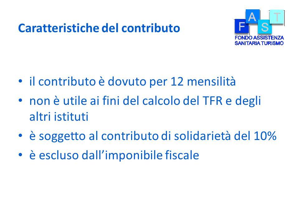 Caratteristiche del contributo il contributo è dovuto per 12 mensilità non è utile ai fini del calcolo del TFR e degli altri istituti è soggetto al co