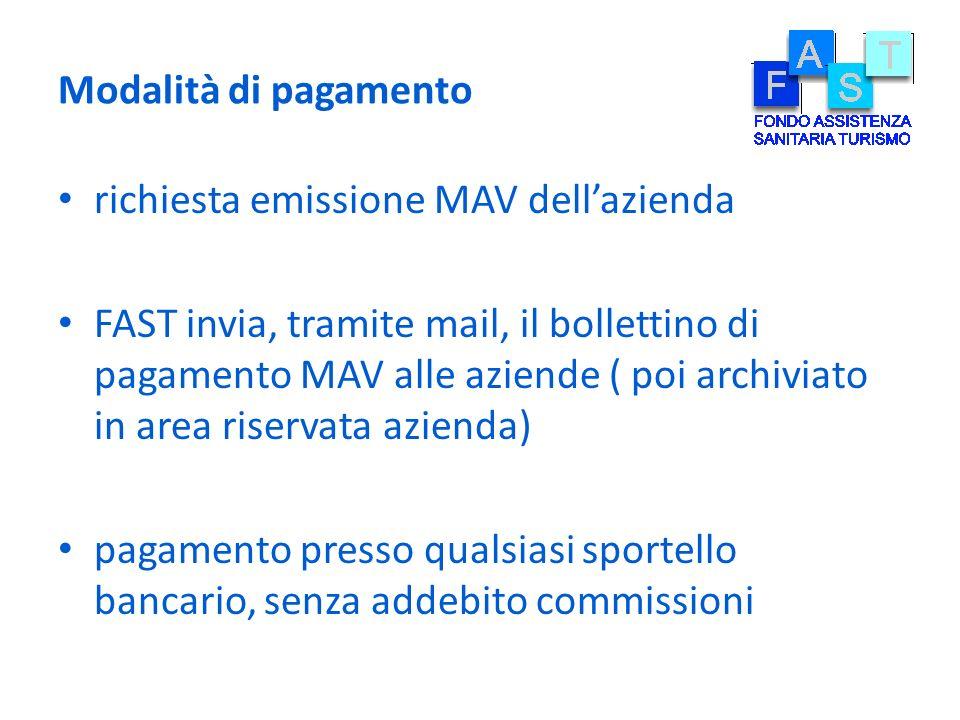 Modalità di pagamento richiesta emissione MAV dellazienda FAST invia, tramite mail, il bollettino di pagamento MAV alle aziende ( poi archiviato in ar