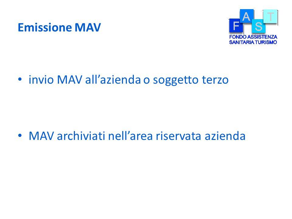 Emissione MAV invio MAV allazienda o soggetto terzo MAV archiviati nellarea riservata azienda