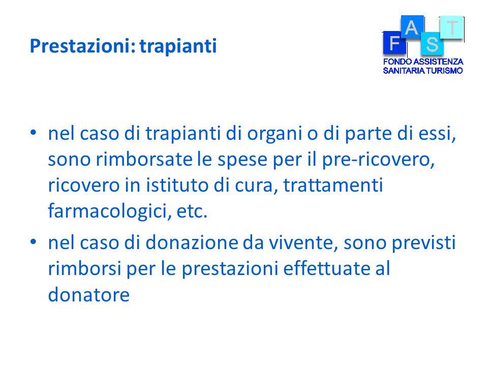 Prestazioni: trapianti nel caso di trapianti di organi o di parte di essi, sono rimborsate le spese per il pre-ricovero, ricovero in istituto di cura,