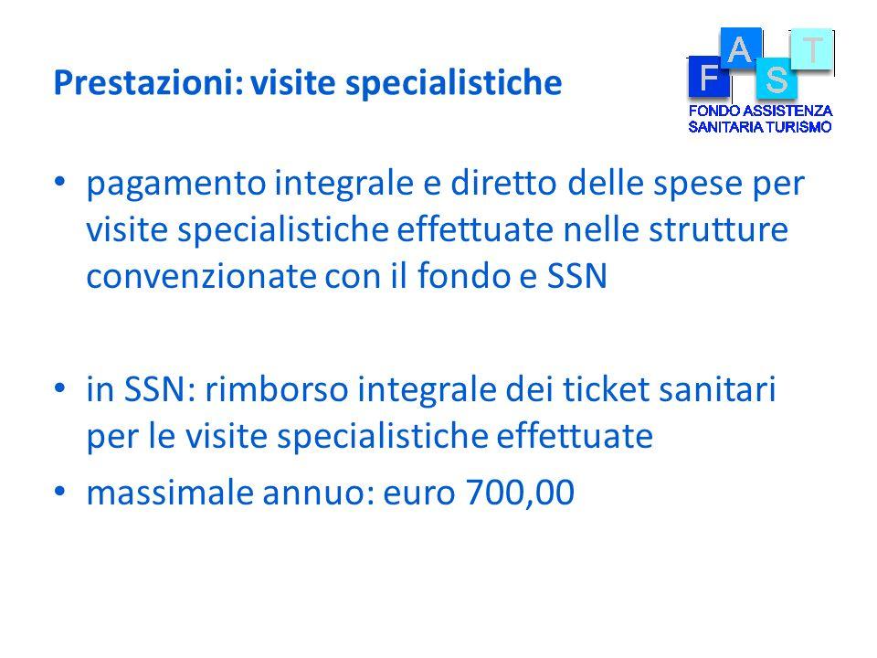 Prestazioni: visite specialistiche pagamento integrale e diretto delle spese per visite specialistiche effettuate nelle strutture convenzionate con il