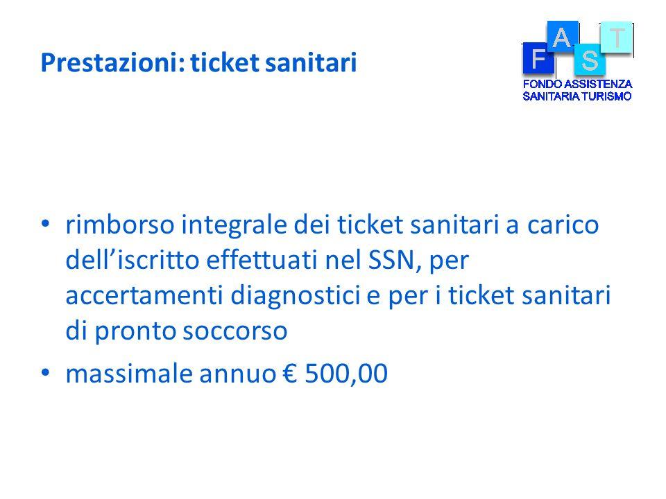 Prestazioni: ticket sanitari rimborso integrale dei ticket sanitari a carico delliscritto effettuati nel SSN, per accertamenti diagnostici e per i tic